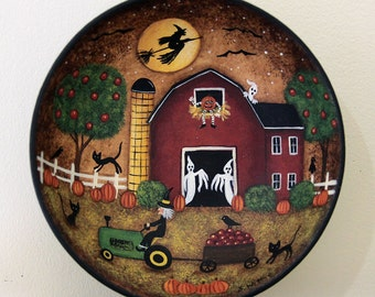Halloween Folk Art Wood Bowl, Witch Riding a Tractor Pulling a Wagon, Primitive Red Barn, Apple Tree, Ghost, Black Cat READY TO SHIP