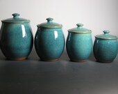 4 piece canister set in blue green
