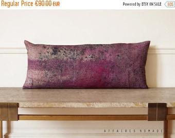 ON SALE Linen. Decorative Pillowcase long. Vintage influense. Pink violet 02 .. / RETRO-Modern