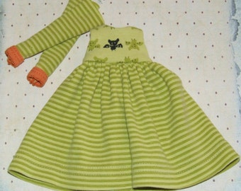 Ooak Custom Blythe Halloween Bat Outfit Green Stripes Long Dress Striped Stockings Orange by Lily Rose
