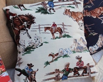 Vintage Cowboys / rustic, western pillow case for 18 x 18 pillow form / horses / decorative pillow / western home decor country / white