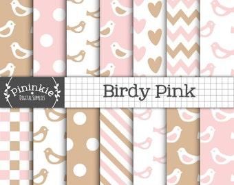 Baby Pink Digital Paper, Bird  Scrapbooking Paper Baby Girl,  Invitation Paper,  Pastel Pink, Pink Hearts, Light Pink Chevrons