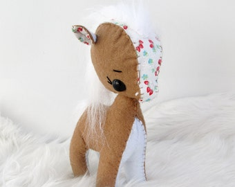 Mini Tan and Red Floral Felt Pony Plushie Toy