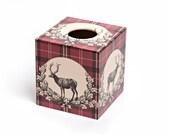 Tartan Stag Tissue Box Cover wooden handmade
