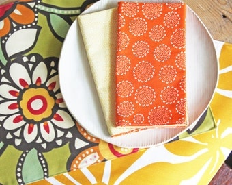 Reversible Placemats - Green Big Floral and Mustard Floral