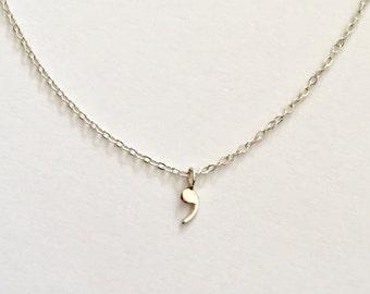 Comma,....Breathe Silver Necklace