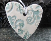 Teal and White Brocade Heart Ornament