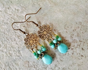 Bohemian turquoise earrings, antique gold bohemian turquoise chandelier earrings