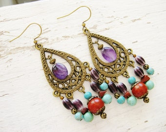 Bohemian antique gold long gypsy hippie amethyst, coral, turquoise chandelier earrings