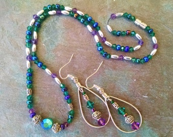 Purple green necklace earring set, purple and green crystal silver necklace earring set