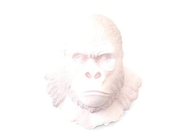 Large Light Pink Gorilla Faux Taxidermy- Silverback Gorilla Wall Mount - Light Pink Gorilla Faux Taxidermy GOR06