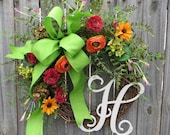 Wreath with Monogram, Wildflower Wreath, Summer and Spring Wreath, Colorful Mixed Flowers, Wreath with Letter, Personalized Wreath