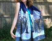 Lothlorien- Enchanted Land  - large Silky faille shawl -    from original batik -