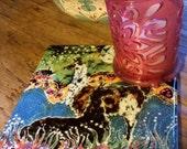 "Trivet   ""Hills Alive with Llama""  -   Ceramic tile  - from original batik"