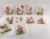Vintage Greeting cards AnneLiese 10 Little Hummel style children with envelopes