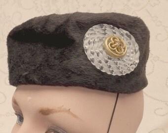 Black furry velvet pillbox Tam Lecie hat Lucite emblellishment