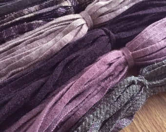 The Purples - 150 Primitive Hand Cut Wool Strips for Rug Hooking
