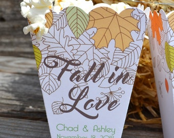 15 Personalized Fall in Love Autumn Leaves Wedding Popcorn Bar Boxes Personalized with Names and Date