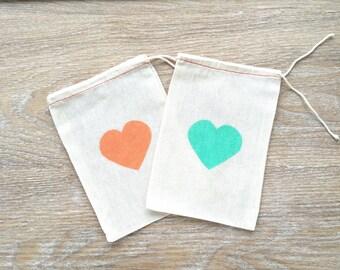Heart Favor bags heart gift bags heart favours heart cotton bags hangover kit bags