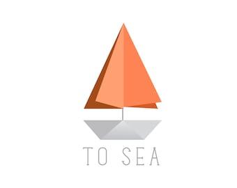 Minimalist Origami paper Sail boat Logo design, customizable Pre-made OOAK grey, orange geometric