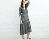 SALE!V-Neck Boho Dress, Gray.