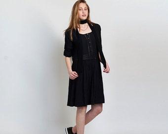 Summer SALE Placket Eyelet midi dress ,Black.