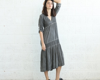 SALE!V-Neck Boho Dress, Gray.