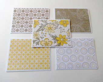 Blank Note Cards, Set of 5 Blank Note Cards, Matching Envelopes, Note Card Set, Thank You Notes, Blank Cards, Stationary, Yellow Floral