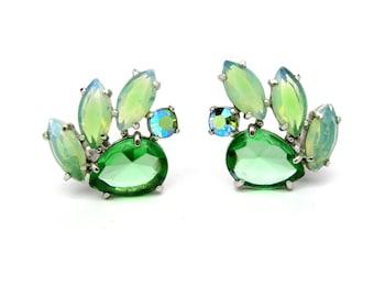 Schiaparelli Earrings. Green Jewel Glass, Moonstone Glass, Aurora Borealis Rhinestones. Vintage Designer 1950s Statement Jewelry