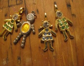 Four rhinestone birthstone people -  pendant / charms