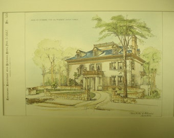 Robert Noxon Toppan House, Cambridge, Massachusetts, 1887, Chamberlin & Whindew, Architects. Hand Colored, Original Plan, Architecture