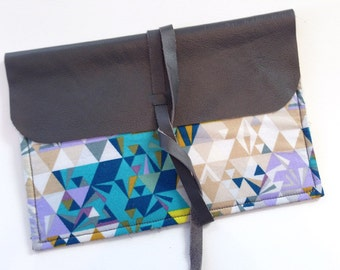 Blue Pixel: Leather and Fabric Clutch