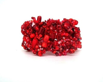 Christmas in July ON SALE Red Bracelet, Beaded cuff bracelet, Seed bead jewelry, Beadwork jewelry, Freeform peyote bracelet, Statement jewel