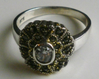 Sterling Silver Marcasite Ring-Size 8 1/2