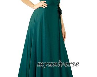Teal Green Bridesmaid Dress Infinity Dress Wrap Formal Dress Jersey Deep Green Wedding Evening Gown Ball Night Dinner Women Long