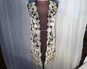 women medium vest-black with white beading--long style..open style-80s