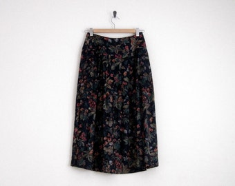 Floral Skirt. Black Skirt with Pleats. Side Button High Waisted Skirt. Floral Print. 1980s Vintage Victorian Skirt. Red Full Skirt. Pleat.