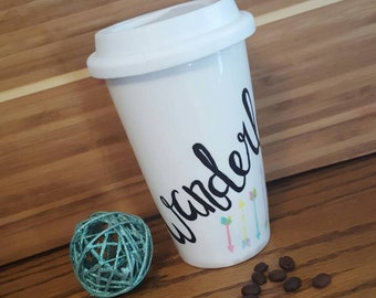 Wanderlust Travel Mug, Arrow Mug, 11 oz Double Walled Ceramic Mug, Hand-painted