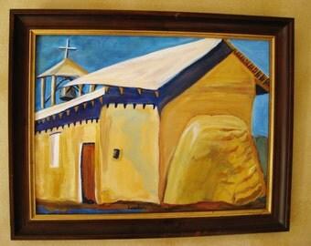 Adobe church painting, large original adobe church oil painting