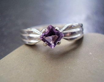 Violet - Genuine Amethyst Square Cut Solitaire Ring, Sterling Silver Ring, Alternative Engagement Ring, Gifts For Her, February's Birthstone