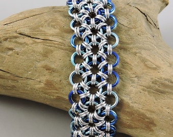 Chainmaille Bracelet, Blue Japanese Lace Chainmail Bracelet, Chain Mail Jewelry, Blue Bracelet
