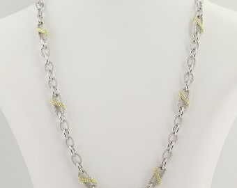 """Cubic Zirconia Necklace 19 1/2"""" - Sterling Silver & Gold Plated L9402"""