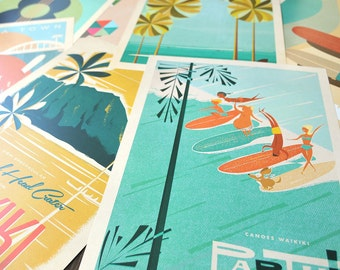 THE PICK 3 - Choose THREE 12x18 Retro Hawaii Travel Prints