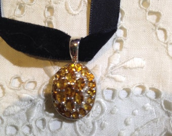 Nemesis Vintage Handmade Sterling Silver Golden Citrine Pendant