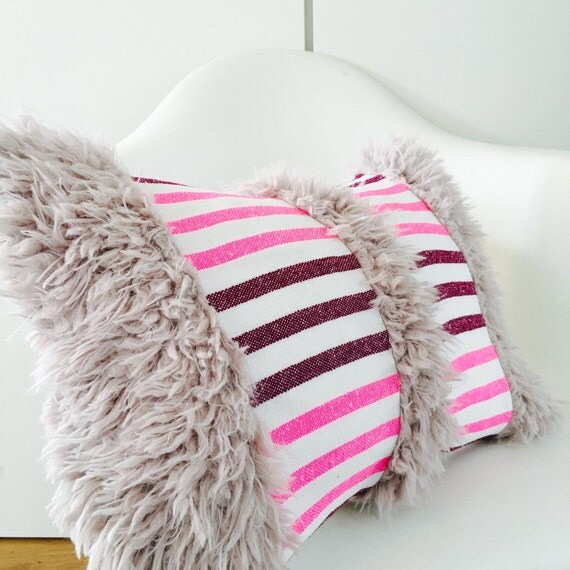 "Pink Boho Striped Tribal Pillow Cover 14""x18"" Lumbar Cushion Pillow Ethnic Bohemian Pink Striped Aztec Motif Faux Fur Pillow"