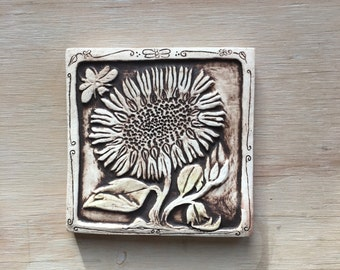 Sunflower with bee 4x4 inch handmade tile in chocolate brown