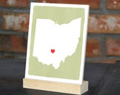 """OHIO Hand Painted Desk display - Office decor - 5""""x 7"""", Bookshelf display, Going Away gift for Family and Best friends BFF gift"""