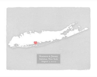 LONG ISLAND New York - Personalized art print - Custom text Wedding gift Bridal shower gift Housewarming gift Wedding guest book