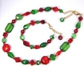 Reserved for Joy, Red and Green Beaded Necklace, Bracelet and Earring Set, Custom Order