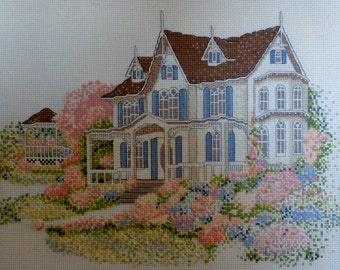 Completed | Counted Cross Stitch Picture | INDIANA GOTHIC | Mansion | Gazebo | Landscape | Linda Bennett